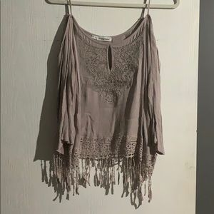 Cropped fringe maurices top